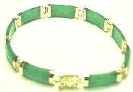 14K yellow gold green jade bracelet