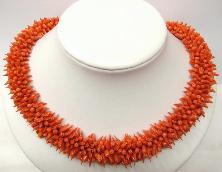 elegance design red coral necklace with 14K gold clasp (length:18