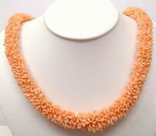 pink coral necklace with 14K yellow gold clasp (length:22
