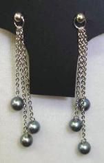 black pearl,pierce earrings with silver-plated chain (we have different color for this design)