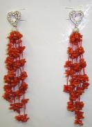 genuine red coral chips earrings with pierce