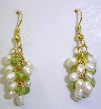 white pearl + small olivine chip gold-plated hook earrings