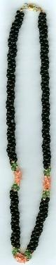 necklace of 3 strands black beads with pink coral chip,adventurine & gold-plated round beads & clasp (Length:18