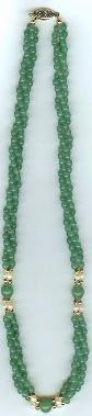 necklace with 3 strands of adventurine+fresh water pearl+gold-plated round beads & clasp (Length:18