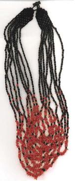 Length:21 inches, 8 strand of red coral chip & black coral necklace