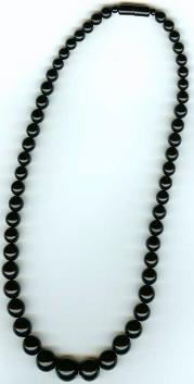 Length:16 inches, graduated black coral necklace with black coral screw clasp, size:6-12mm