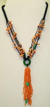 Fashion necklace with pink coral & green jade