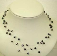 illusion necklace with black color fresh water pearl