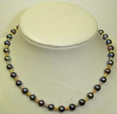 black color fresh water pearl necklace with gold-plated clasp (length:18