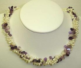3 strand fresh water pearl +amethyst chip necklace (length:18