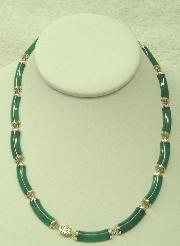 14K yellow gold green jade necklace