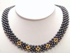 black color fresh water pearl (size:4mm) necklace with 14K yellow gold clasp (length:18