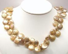 gold color coin pearl with 14K yellow gold clasp (length: 18